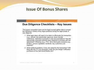 Issue Of Bonus Shares