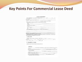 Key Points For Commercial Lease Deed
