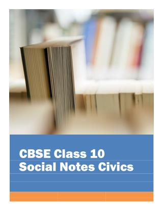 CBSE Class 10 Social Science Civics Notes