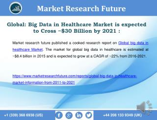 Global: Big Data in Healthcare Market is expected to Cross ~$30 Billion by 2021
