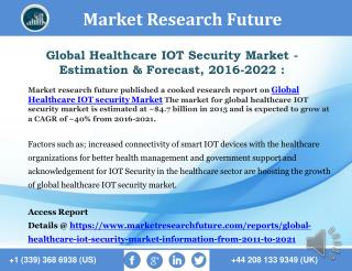 Global Healthcare IOT Security Market - Estimation & Forecast 2016-2022