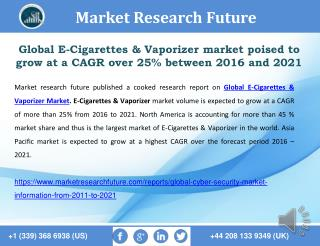 Global E-Cigarettes & Vaporizer Market 2016 Analysis and Forecast to 2021