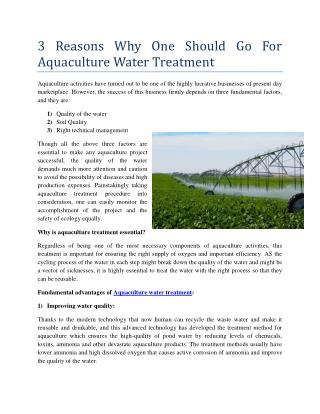 3 Reasons Why One Should Go For Aquaculture Water Treatment