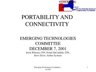 PORTABILITY AND CONNECTIVITY