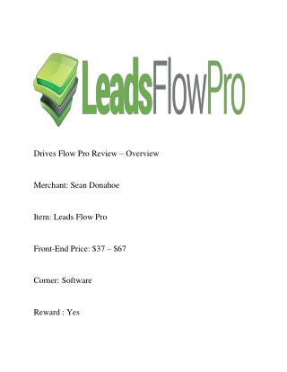 Leads Flow Pro Review and bonus