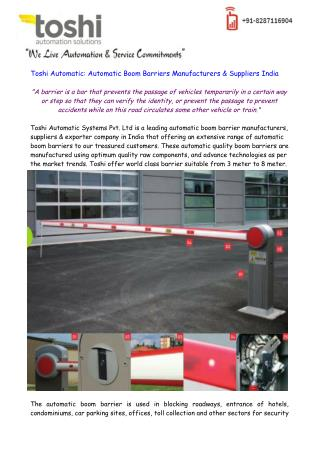 Toshi - Automatic Boom Barriers Manufacturers & Suppliers India