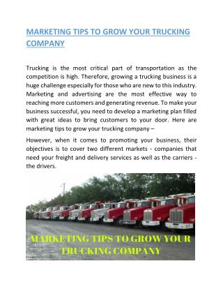 MARKETING TIPS TO GROW YOUR TRUCKING COMPANY