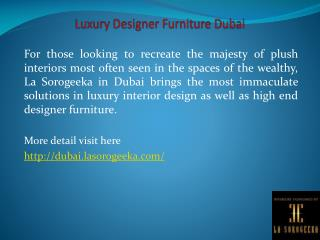 Luxury Designer Furniture Dubai