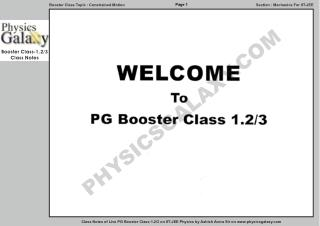 Physics Galaxy Live Booster Class 1.2 Notes