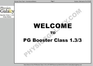 Physics Galaxy Live Booster Class 1.3 Notes