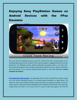 Enjoying Sony PlayStation Games on Android Devices with FPse.