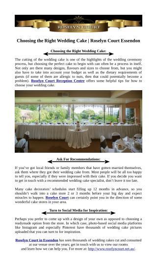 Choosing the Right Wedding Cake - Roselyn Court Essendon