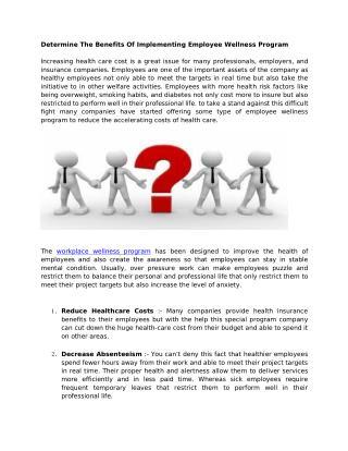 Determine The Benefits Of Implementing Employee Wellness Program