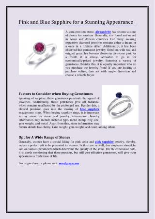 Pink and Blue Sapphire for a Stunning Appearance