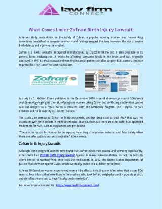 What Comes Under Zofran Birth Injury Lawsuit