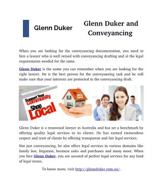 Glenn Duker and Conveyancing