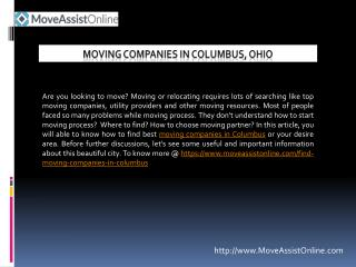 Top Utility Providers and Moving Companies in Columbus