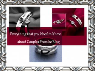 Everything that you Need to Know about Couples Promise Ring