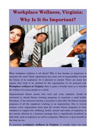 Workplace Wellness Virginia - Synergy Fitness Group