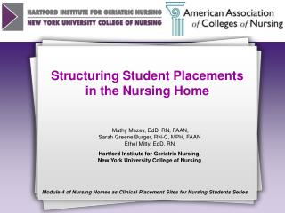 Structuring Student Placements in the Nursing Home
