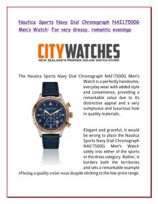 Nautica Sports Navy Dial Chronograph NAI17500G Men's Watch: For very dressy, romantic evenings