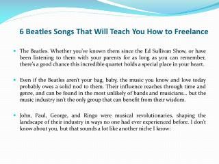 6 Beatles Songs That Will Teach You How to Freelance