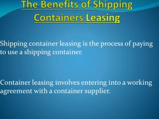 Shipping Container Leasing Is A Profitable Investment