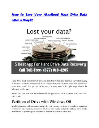 How to Save Your MacBook Hard Drive Data after a Crash? Call (877) 910-4205