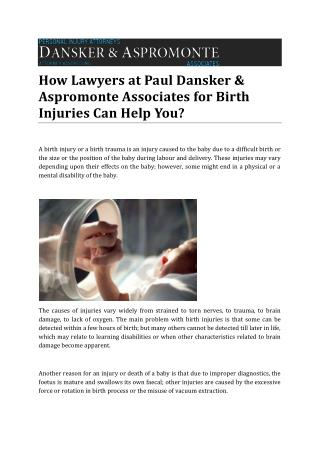 How Lawyers at Paul Dansker & Aspromonte Associates for Birth Injuries Can Help You?