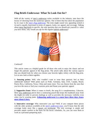 Flag Briefs Underwear- What To Look Out For?
