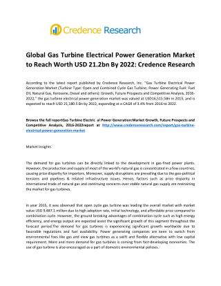 Global Gas Turbine Electrical Power Generation Market To Reach Worth USD 21.2bn By 2022: Credence Research