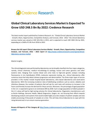 Global Clinical Laboratory Services Market Is Expected To Grow USD 248.5 Bn By 2022: Credence Research