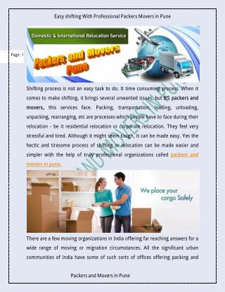 Easy shifting With Professional Packers Movers in Pune