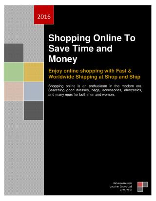 Shopping Online To Save Time and Money