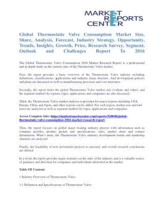 Thermostatic Valve Consumption Market Size, Application Potential, Price Trends, Competitive Market Share & Forecast To