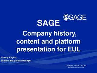 SAGE  Company history, content and platform presentation for EUL