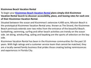 Kissimmee Beach Vacation Rental