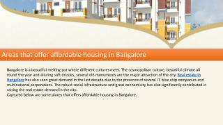 Areas that offer affordable housing in Bangalore