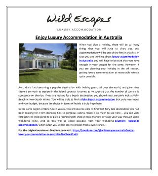 Enjoy Luxury Accommodation in Australia