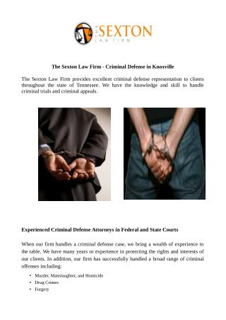The Sexton Law Firm - Criminal Defense in Knoxville