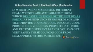 Get Online Shopping Offers with cashback from DealsnPrice
