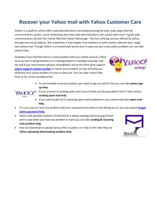 Recover your Yahoo mail with Yahoo Customer Care