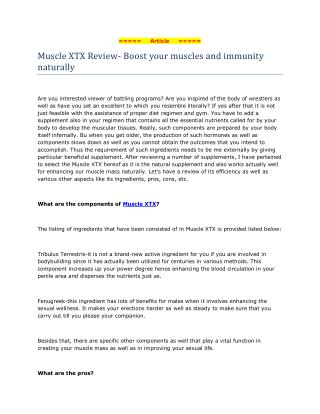 Muscle XTX Review- Boost your muscles and immunity naturally