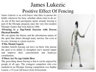 James Lukezic - Positive Effect of Fencing