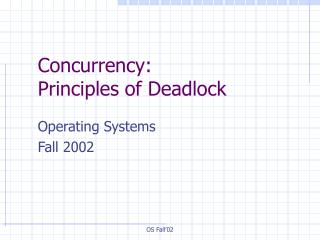 Concurrency:  Principles of Deadlock