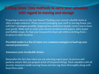 Shifting Ideas: Easy methods to carry your valuables with regard to moving and storage