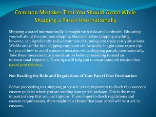 Common Mistakes That You Should Avoid While Shipping a Parcel Internationally