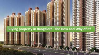 Buying property in Bangalore- The How and Why of it!