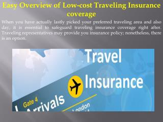 Easy Overview of Low-cost Traveling Insurance coverage
