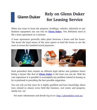 Rely on Glenn Duker for Leasing Service